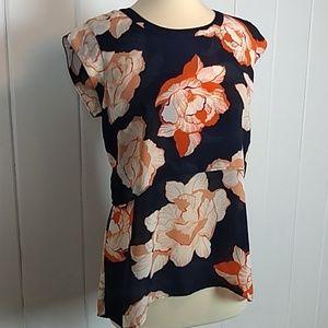 Cabi Navy Orange Floral Layered Top - M